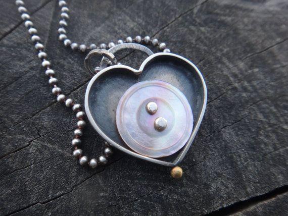 Button My Heart Pendant Vintage Mother of Pearl by EyvindsAlchemy