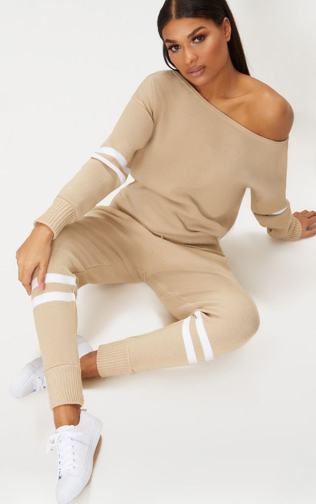 1f8c5a90c Stone Stripe Detail Jogger Knitted Lounge Set