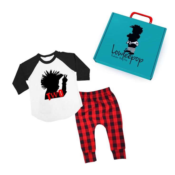 Excited to share the latest addition to my #etsy shop: ROCKSTAR KIT Toddler Mohawk raglan shirt with red plaid pants & gift box