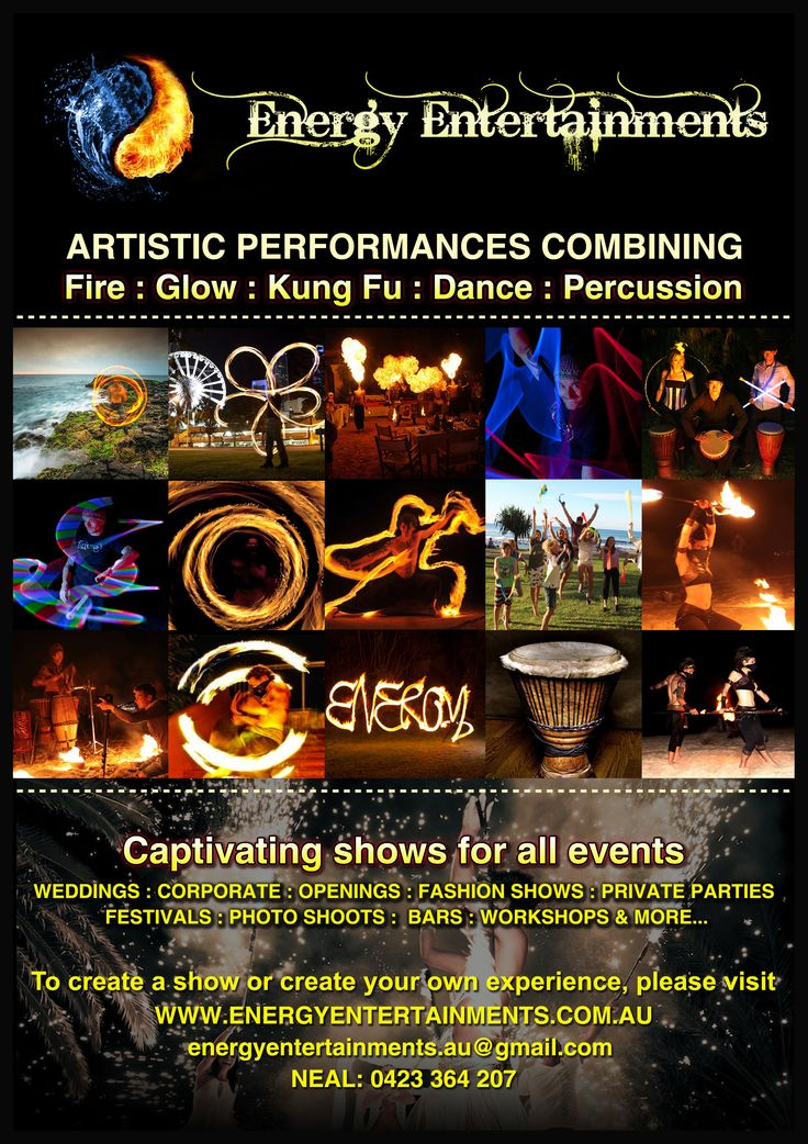 High ENERGY entertainment. Lift the atmosphere of your party with an amazing fire show.