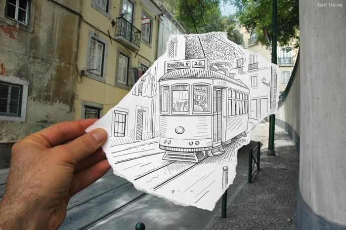 Pencil Vs Camera is a clever photo series by Belgium born artist and photographer Ben Heine where he completes a part of the scene with hand drawn sketches.