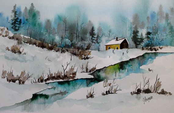 Watercolor Original Painting by pinetreeart on Etsy