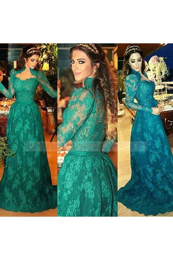 Vintage Sweetheart Lace Sweep Train Long Sleeve Green A Line Evening Dress Os0862
