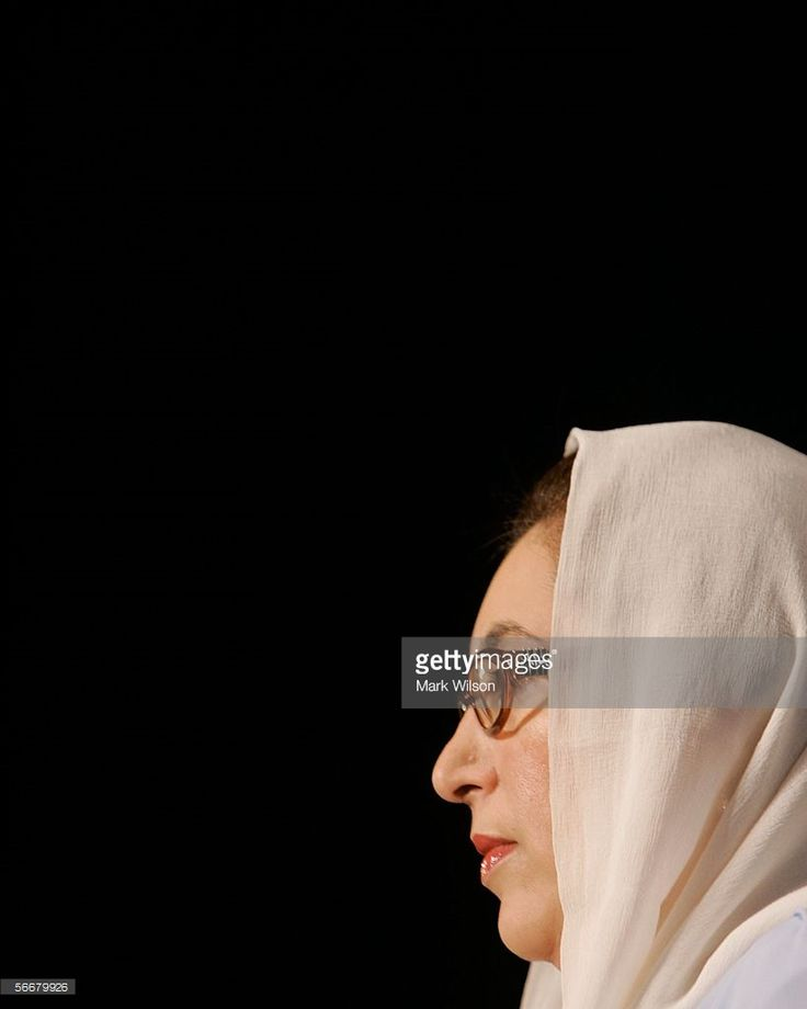 Former Prime Minister of Pakistan Benazir Bhutto listens to questions during a news conference at the Voice of America January 26, 2006 in Washington, DC. Bhutto spoke about the war or terrorism and the future of democracy in Pakistan.