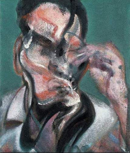 Study for a portrait of Lucien Freud, by Francis Bacon.
