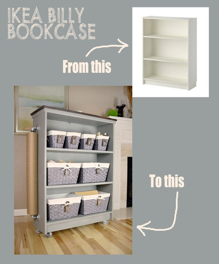 Rolling craft cart from an IKEA Billy Bookcase
