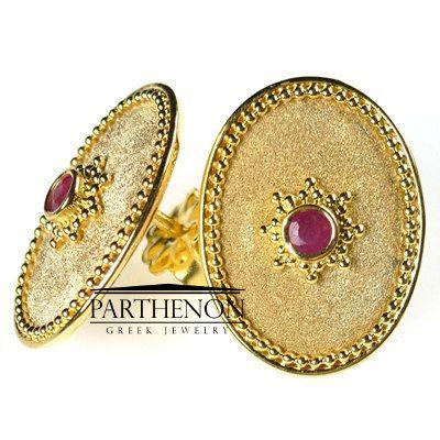 18k Gold Byzantine Oval Earrings Ruby by ParthenonGreekJewels