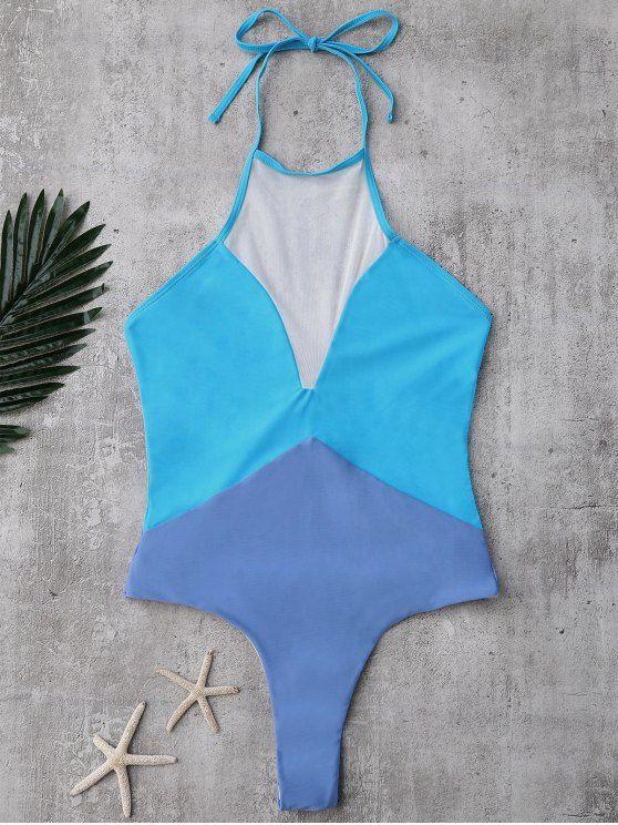 Sin respaldo del bloque del color del traje de baño panel de malla - Lago Azul S