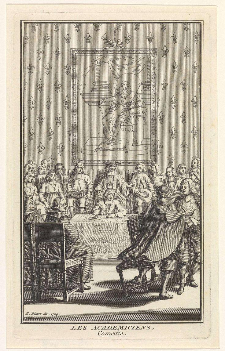 Bernard Picart | Heren rond een tafel, Bernard Picart, 1724 | Een groep heren heeft zich verzameld in een collegezaal van de Academie van Wetenschappen. Op de achterwand een portret van de koning.