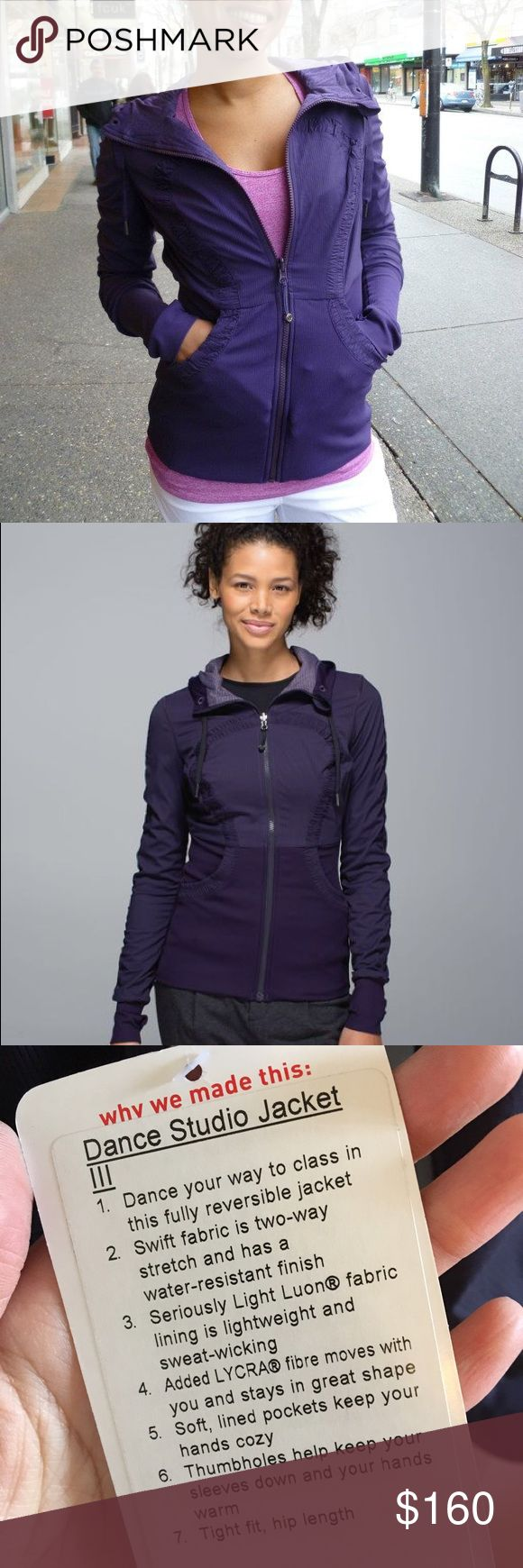 Read description - Lululemon dance studio jacket Lululemon dance studio jacket size 8 new with tags in black swan (color was later renamed to black grape due to proprietary reasons - feel free to Google both color names for accurate color representation or refer to stock photo. Beautiful color I just don't need 10 of these jackets. NOTE ::: priced higher to cover tax and 20% Posh fees - I'd like to get what I paid for thanks for understanding! lululemon athletica Jackets & Coats