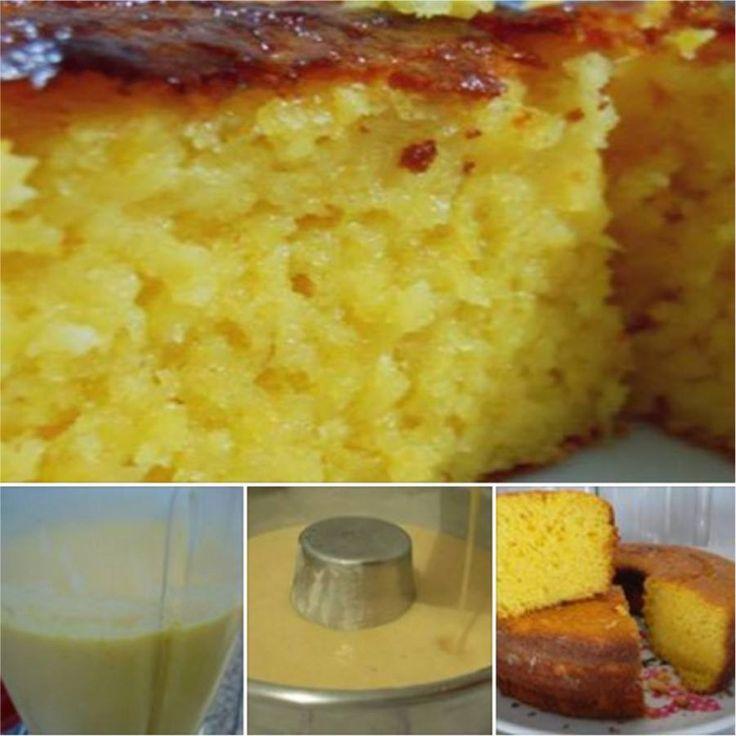 Aprenda fazer a Receita de Bolo de Milho Verde Fofinho e Cremoso. É uma Delícia! Confira os Ingredientes e siga o passo-a-passo do Modo de Preparo!