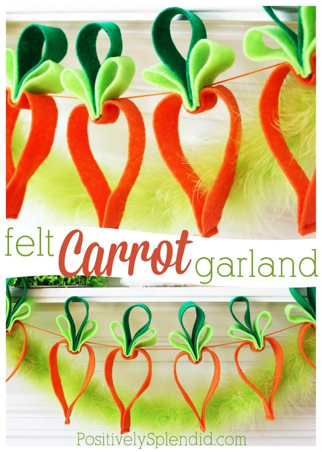 Easy Felt Carrot Garland - This is one of the cutest Easter crafts ever!: Cutest Easter, Crafts Ideas, Felt Carrots, Carrots Garlands, Easter Crafts, Easter Decor, Easy Felt, Cutest Spring, Spring Crafts