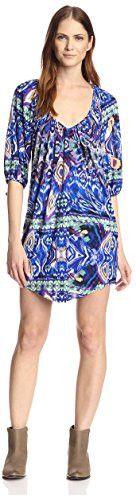 tbagslosangeles Women's Elbow Sleeve Short Dress, Purple/Green/Blue