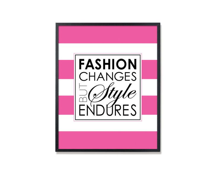 Fashion changes but style endures, Chanel Quote, Chanel Quote print, Fashion Wall Art, Chanel wall art, Coco Chanel quote, Chanel pink print by Especia on Etsy
