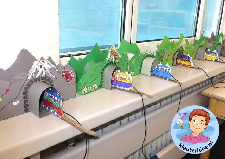 Tunnels maken van karton met kleuters, kleuteridee.nl, thema de trein , kindergarten railroad craft, free printable