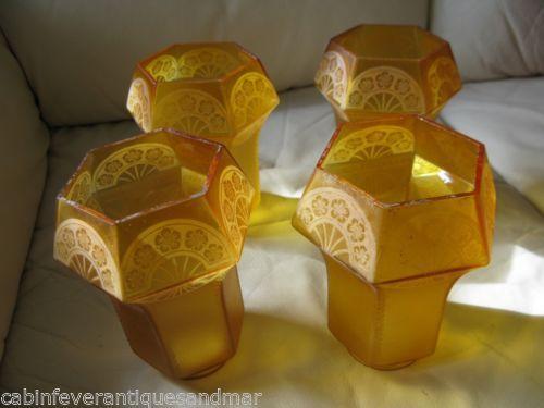 Antique Art Deco Etched Amber Shade Globe Frankart Nuart Style 4 @ 6 x 2 1/4 Set
