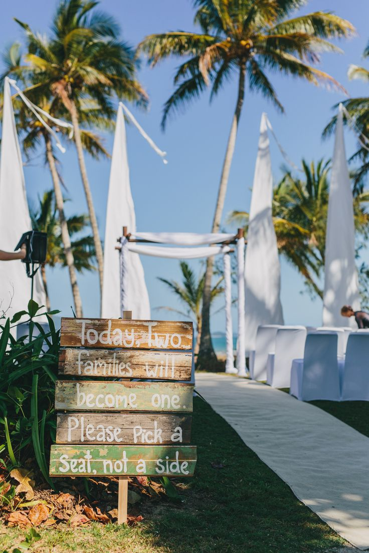 Wedding signs and quotes like this make me go all mushy! A beautiful tropical garden ceremony in the lovely Mission Beach. Far North Queensland skies are to die for!