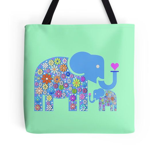 Mum & Baby Elephant #elephant #babyelephant #fashion #fashiontotebag #google #popoulartotebag #hippieelephant #flowers #macsnapshot #heart #love #maternallove