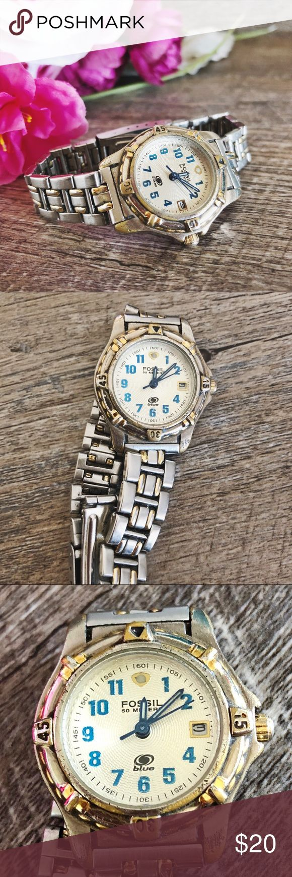 Fossil 50 Meter Blue Watch In well loved condition. Needs battery replacement. No extra links or box included. Price reflects condition. Fossil Accessories Watches