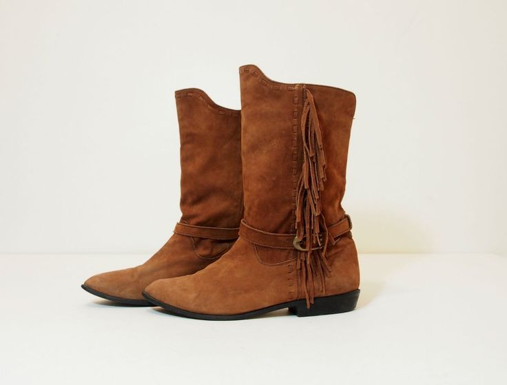 Vintage Boho Fringe Southwestern Boots Size 10 Womens by silkstocking on Etsy https://www.etsy.com/listing/270682414/vintage-boho-fringe-southwestern-boots