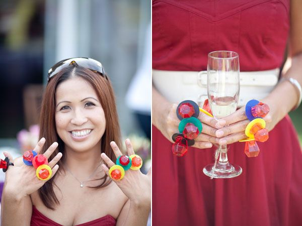 """In a twist on the classic clothespin game, each guest received a ring pop and had to forfeit it if they said the bride's name. Clearly her future sister-in-law, pictured above, was a master!See more photos from this """"Favorite Things""""-themed bridal shower ►Photo Credit: Caroline Tran"""