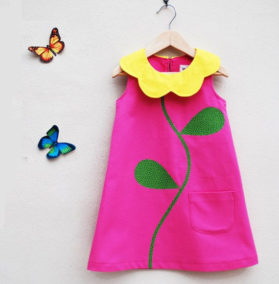 Pink Flower Girls Dress por wildthingsdresses en Etsy