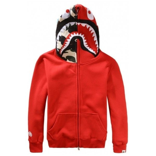 Unisex Cartoon Shark Printed Hooded Long Sleeve Zipper Placket Zip-Up... ($37) ❤ liked on Polyvore featuring tops and hoodies