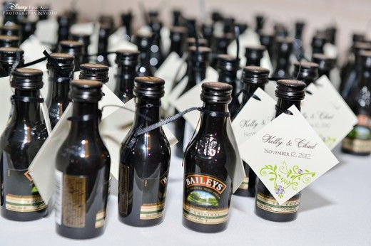 Mini alcohol favors. Could tie around the bottle little flavored sugar cubes so the guests have one more drink!
