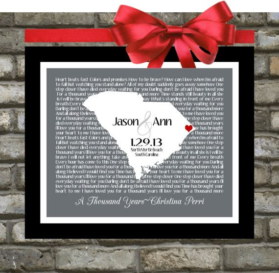 First Dance Song Lyric Personalized Wedding Gift: Any State Country Custom Map Print Office Art Engagement Present 8x10 Gift for Newlyweds on Etsy, $21.99