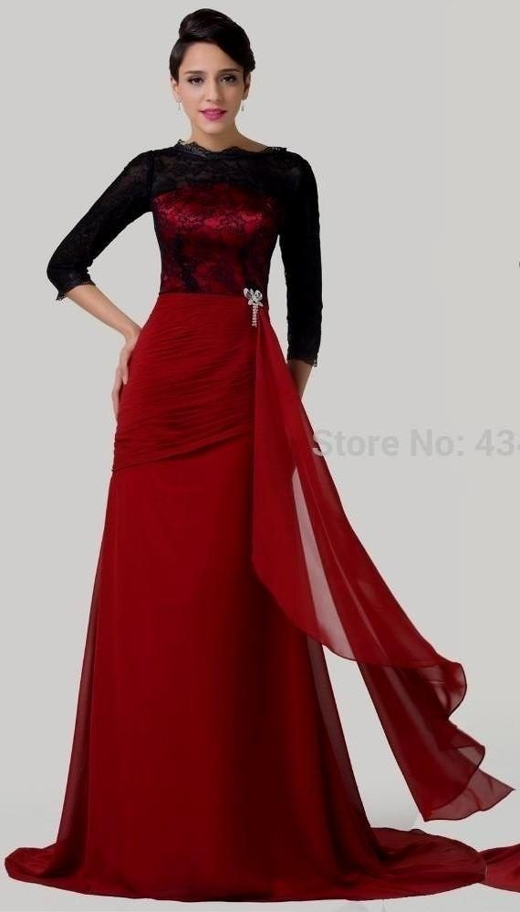 Long Dark Red Dress With Sleeves http://www.top-dresses.com/long-dark-red-dress-with-sleeves-4052/