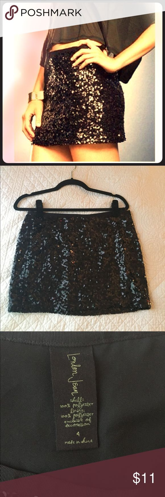 Black sequin mini skirt Black sequin mini skirt by London Jean/Victoria's Secret. Like new. Size 4. Smoke-free/pet-free home. Victoria's Secret Skirts Mini