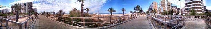 Playa de Gandia en 360º desde la pasarela de madera.