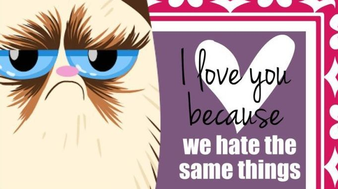 Grumpy Cat Valentine's Day cards I Love You Because