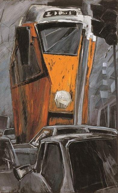 Tram, painting by Letizia Fornasieri