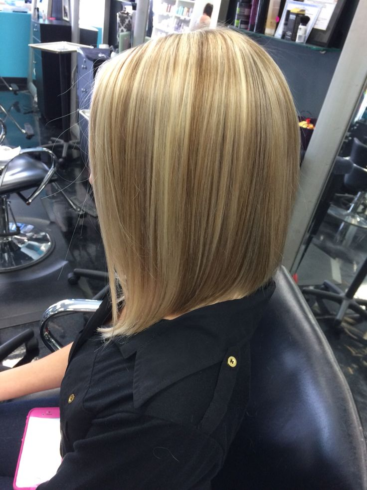 Mid Length Inverted Bob Blonde With Lowlights Short Hair