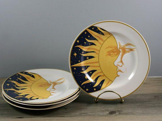 "Set of Four Sun, Moon, and Star Salad, Appetizer, Dessert Plates - 1993 ""Galaxy"" by Vitromaster - Bohemian, Celestial Decor on Etsy, $24.00"