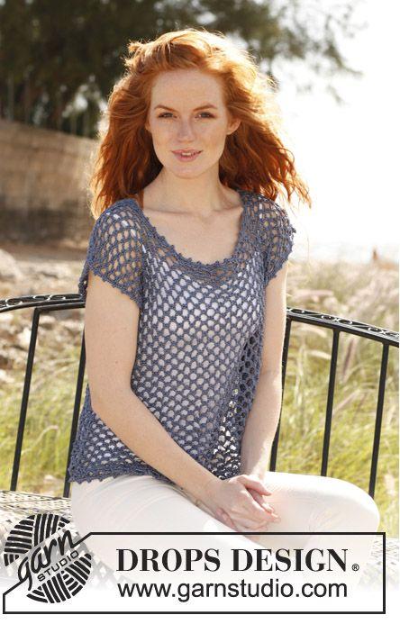 'Florette' crochet top by DROPS design.  Free pattern.