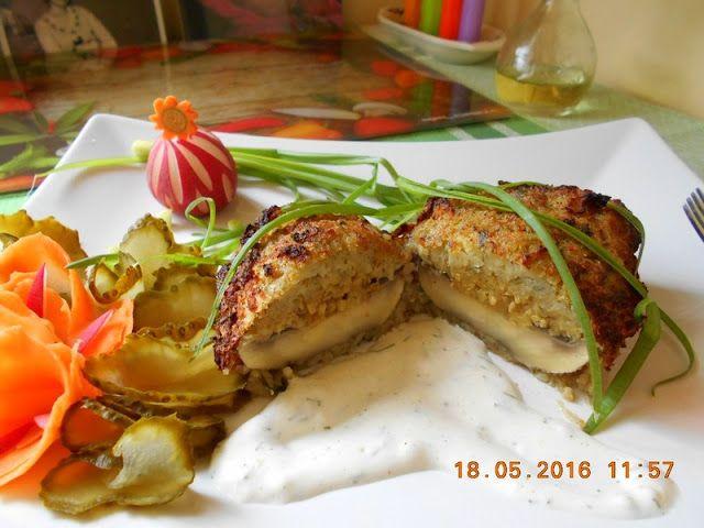 Maminek kulinarny: Pieczarki zapiekane w cieście ziemniaczanym