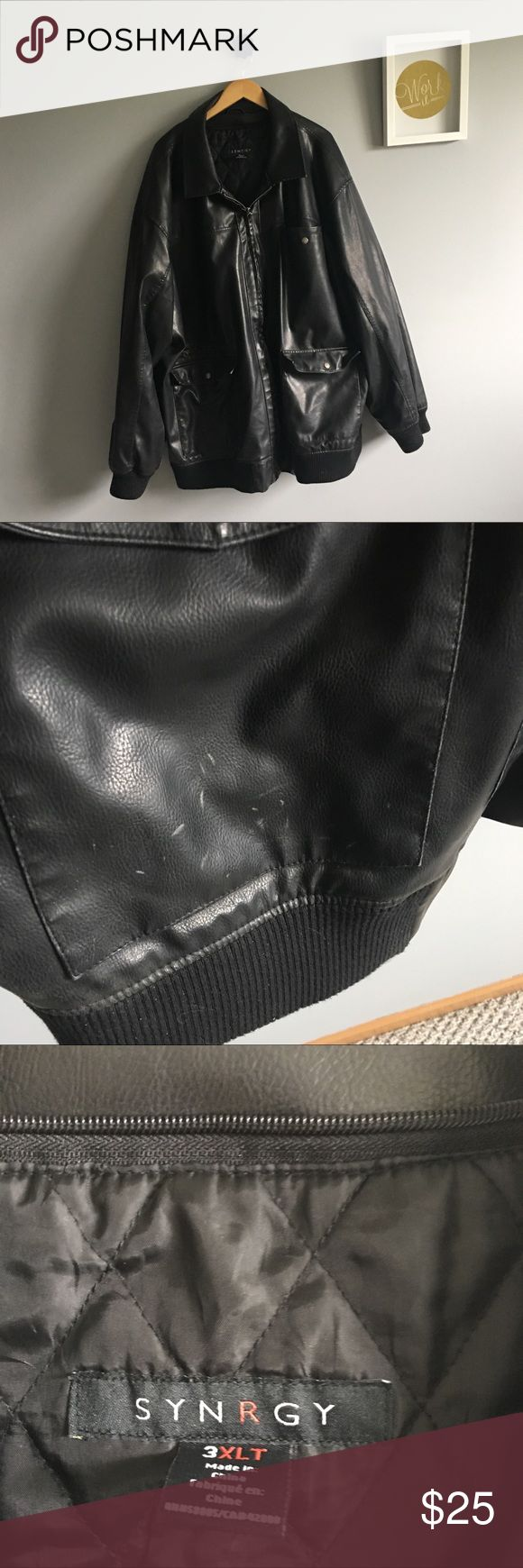 🖤MENS VEGAN LEATHER COAT🖤 3XLT Men's Big & Tall vegan leather bomber style coat, materials on tag pictured. Small white scratches on front pocket. Haven't tried to clean, aren't deep and probably would clean right up. Banded bottom and sleeve cuff. Quilted interior shell. WARM!! synrgy Jackets & Coats Bomber & Varsity