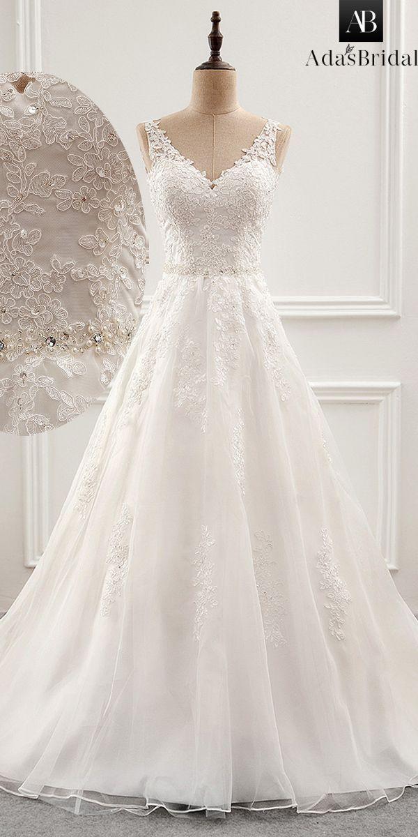 Fabulous Tüll & Organza V-Ausschnitt A-Linie Brautkleid mit Perlen Spitze … – Traum-Hochzeit