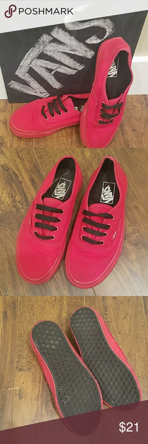 ♥VANS Skate Shoes VANS.... Kickstart your style with a classic skate sneaker that's as awesome as you are!  GREAT CONDITION  Size: Men's 6, women 7.5 Color: red  SMOKE FREE HOME Vans Shoes Sneakers