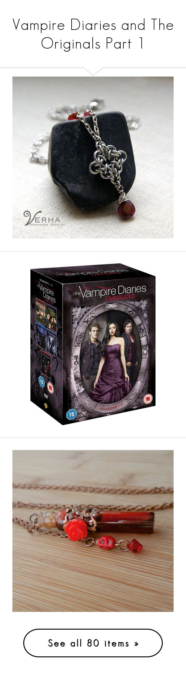 """""""Vampire Diaries and The Originals Part 1"""" by adorablequeen ❤ liked on Polyvore featuring jewelry, necklaces, garnet jewelry, garnet jewellery, garnet necklace, movies, films, vampire diaries, tops and t-shirts"""