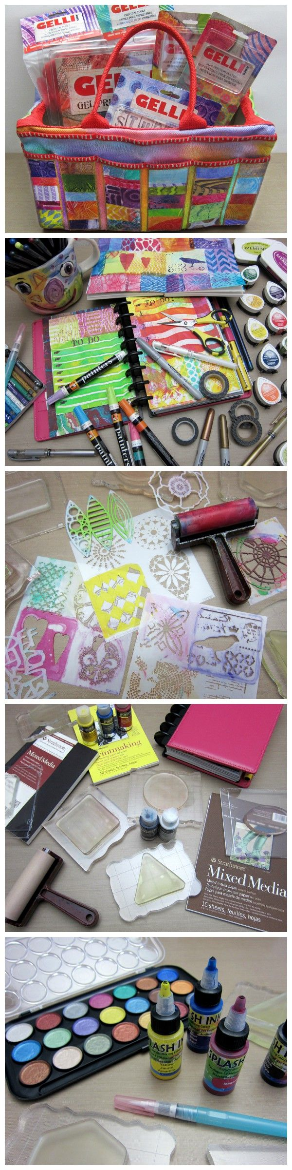GELLI Printing & Stamping in Planners, on Art Totes and in Art Journals! Check out blog tutorial and video!