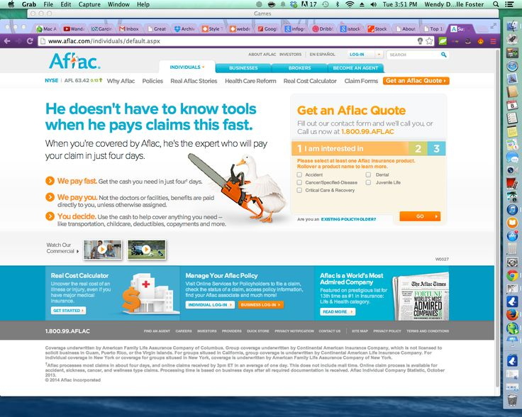 Aflac has one of the busier sites but does use graphics more than their competitors and is somewhat less conservative than their peers. They seem to want to appeal to a younger target one that is more fun I would guess.