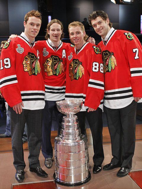 Jonathan Toews, Duncan Keith, Patrick Kane and Brent Seabrook on the set of The Tonight Show.