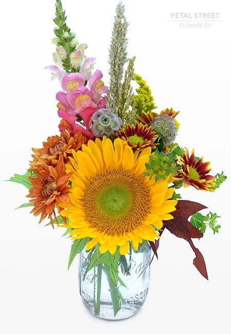 Sunflower Arrangement in Mason Jar | Fall mason jar with Sunflower, Mums, Snap Dragon, and Fall leaves ...