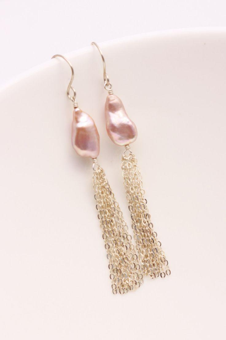 AA Mauve Keshi Pearl Tassel Earrings, Argentium Sterling Silver, Lavender Pink, June Birthstone, Wire Wrapped