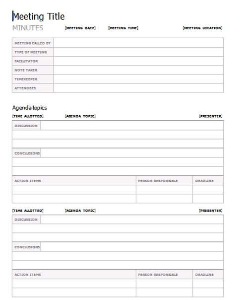 Meeting Minutes Template, Meeting Minutes Form, Template Meeting