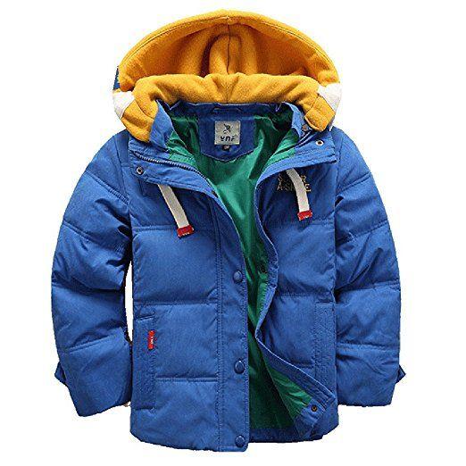 iPretty Winterjacke für Kinder Jungen Mädchen verdickte Daunenjacken Mantel Trenchcoat Outerwear mit Kapuzen-Blau-120