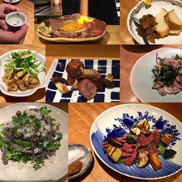 山を歩いた後の#肉 、格別でした。卵の黄身を包んだお肉の表面を炙って、割り下を絡めて頂く一品がヤバいです! 苦手な筈の#ホルモン系の品々も美味しかったです!ご馳走さまでした。 #夕食 #ばんごはん #外食
